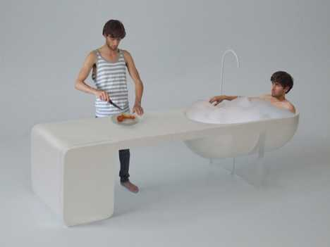 All in One Furniture - The Unit Has A Kitchen, Table, Fridge & Bathtub