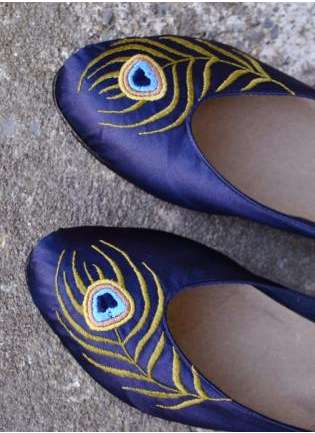 Chebran Indigo Flats with Peacock Embroidery