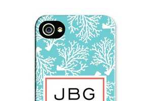 The Personalized Coral Phone Case is Monogrammed