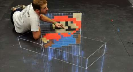 Super Mario 3d Chalk Art