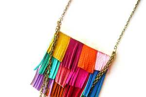 The Boo and Boo Factory Fringe Leather Necklace Exhibits Native Styles