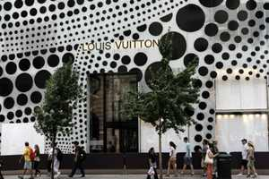 The Yayoi Kusama Design Plasters Louis Vuitton on 57th Street