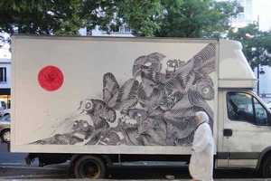 Artist Never2501 Paints Zebra-Like Wasps Onto the Back of a Truck