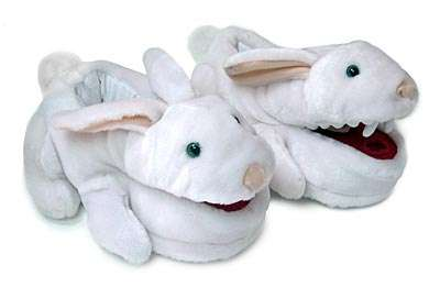 Biting Bunny Footwear - The Monty Python Killer Rabbit Slippers by Think Geek are Hilarious