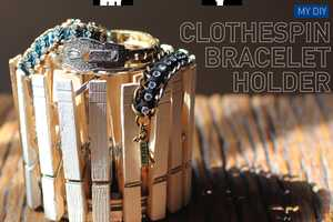 Store Accessories Stylishly with the DIY Clothespin Bracelet Holder