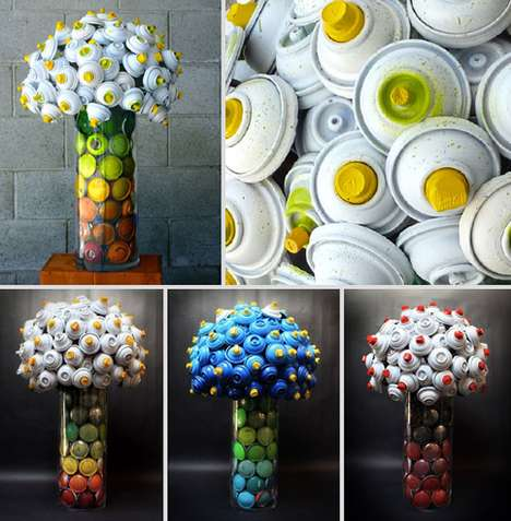 Discarded Spray Can Flower Bouquets