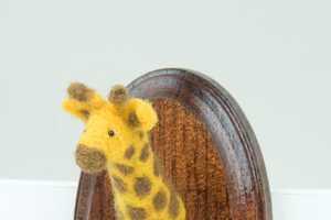 The Miniature Needle-Felted Giraffe Mounted Head by Alisha Harms is Cute