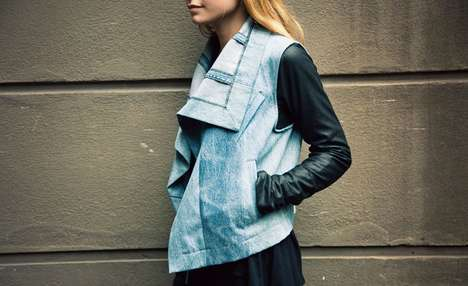 Feminized Bomber Jackets - The Denim and Leather Max Jacket by VEDA is Rebellious