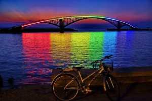 The Rainbow Bridge Glows Whimsically in the Night