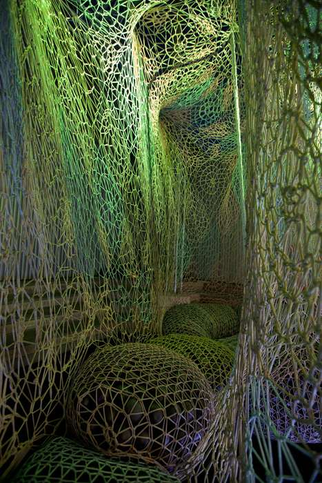 Fluorescent Yarn Playgrounds - The Nike Flyknit Collective Installation is Sturdy and Stimulating