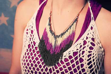 Bead Fringe Bib Necklace by MacKenzie Anderson