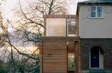 Timber Sliver Extensions - The Slat House is Wedged Up Against a Semi as a Contextual Threshold