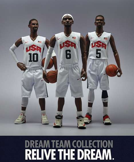 Olympian Basketball Figurines - The Nike + Coolrain 'Relive the Dream' Dolls Immortalize the Legends