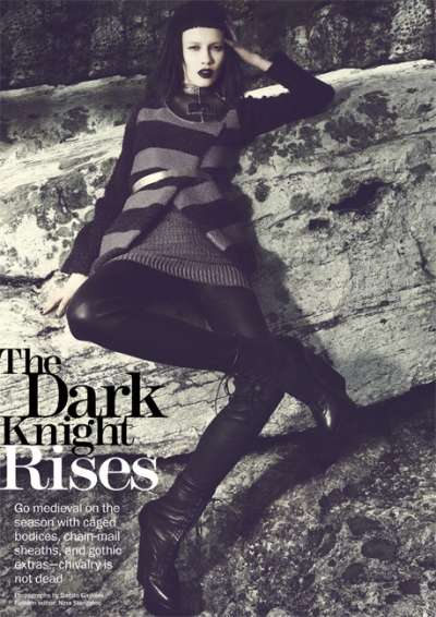 Dark Knight Rises for the September 2012 Marie Claire