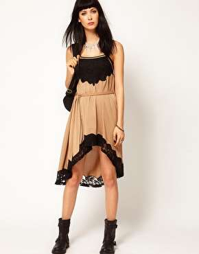 Hi Lo Lace Trim Dress by Thirty Four Disciplines