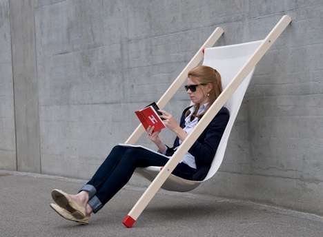 Portable Leaning Wall Seats - The Deck Chair by BERNHARD & BURKARD Grips to Any Surface