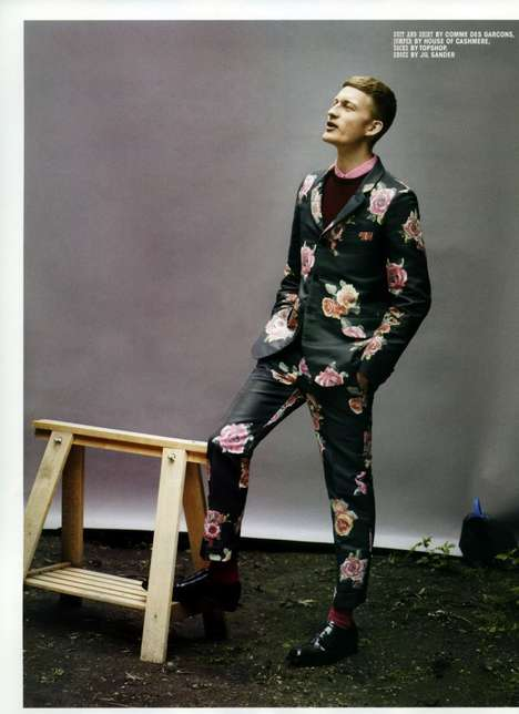 Eclectically Suited Editorials - The Bastian Thiery 10 Men Photoshoot Features Vibrant Florals