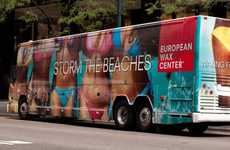 Traveling Hair Removal Promos - The 'EWC Jitney Bum Bus' Offers Beach Goers Complimentary Waxing
