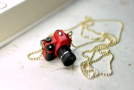 Pint-Sized Camera Pendants - The JnPol DSLR Camera Miniature Necklaces are Adorably