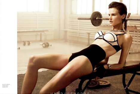 Weight-Lifting Lingerie Ads - Saskia De Brauw for H&M Magazine Fall 2012 is Fierce and Sensual