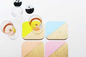 The Color Blocked Coasters Will Brighten up the Table