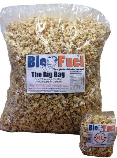 Caffeinated Cinema Snacks - The Bio Fuel Popcorn Provides a Jolt of Energy