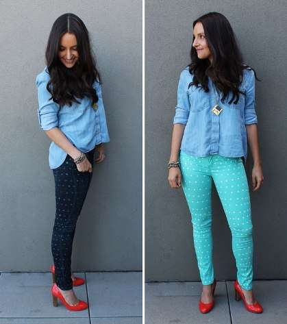 Brit & Co. Polka-Dotted Pants