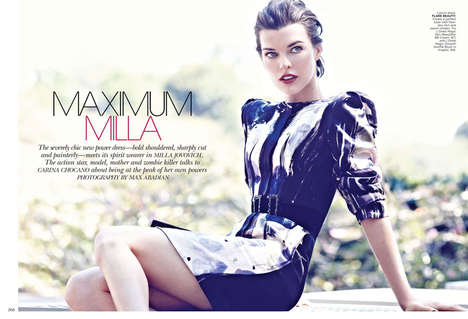 Sleek Stoic Editorials - The Flare Magazine 'Maximum Milla' Photoshoot Stars Actress Milla Jovovich