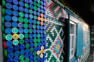 The Olga Kostina Bottle Cap Art Fuses Recycling and Exterior Design