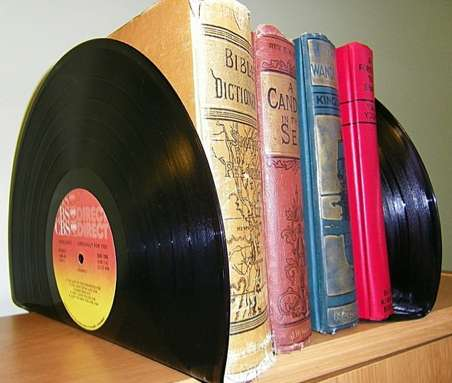 Recycled Vinyl Record Bookends