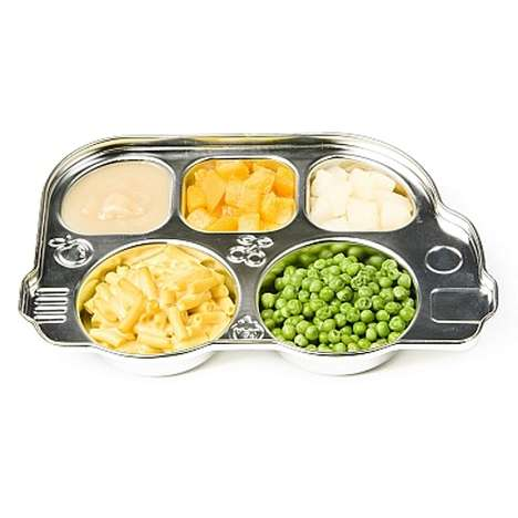 Tin Can-Like Dishes - The Din Din Stainless Platter is Made for Children and Picky Eaters