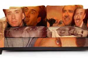 The Nicolas Cage Couch is Hilarious and a Little Bit Creepy
