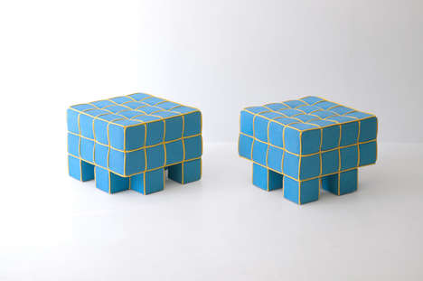 Grid Sofa and Stool by Kim HyunJoo
