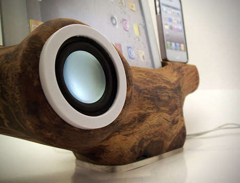 wood, speakers, headphones
