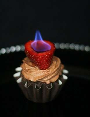 Chocolate Cupakes with Flaming Strawberries