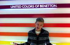 Sebastian Sauvé Peruses His Own Campaign at the Benetton Shop