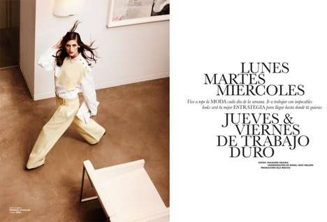 Work Week Fashion - The ELLE Mexico Editorial Stars a Hardworking Daiane Conterato