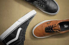Refined Cavalier Sneakers - The Vans Classics Aged Leather Footwear Line is a Perfect Skater Find
