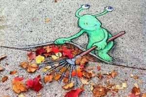 David Zinn Sluggo Chalk Art is Adorably Altruistic