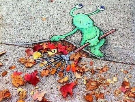 David Zinn Sluggo Chalk Art