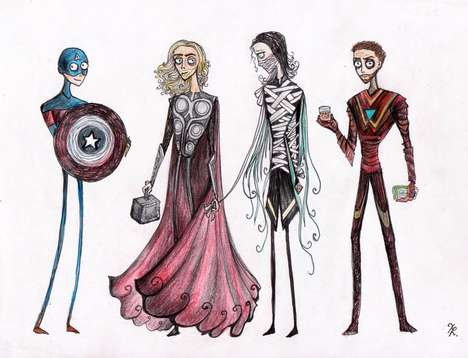 Lanky Legs Abound in Tim Burton-inspired Avengers Art