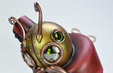 Steampunk Typing Critters - The Doktor A. Montague Sculpture is a Writing Wind-Up Beetle