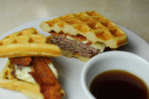 The Double Bacon Waffle Burger is a Breakfast and Dinner Combined