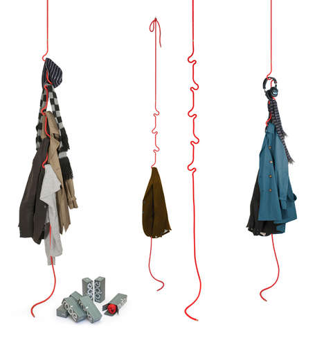 Kinked Cord Clothes Hooks - The Roberope Coat Rack Brings a Casual Whimsicality to Tidiness