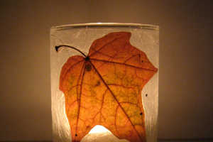 PaperPlanet Makes Tea Light Candle Holders Out of Fallen Leaves
