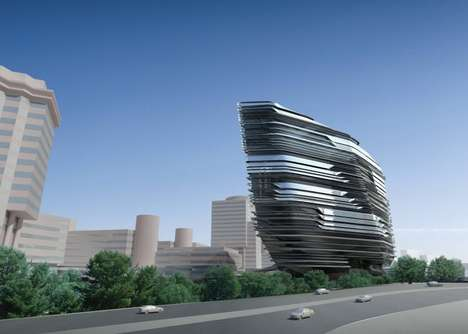 Fleeting Facade Constructions - The Innovation Tower by Zaha Hadid Architects Appears Fluid