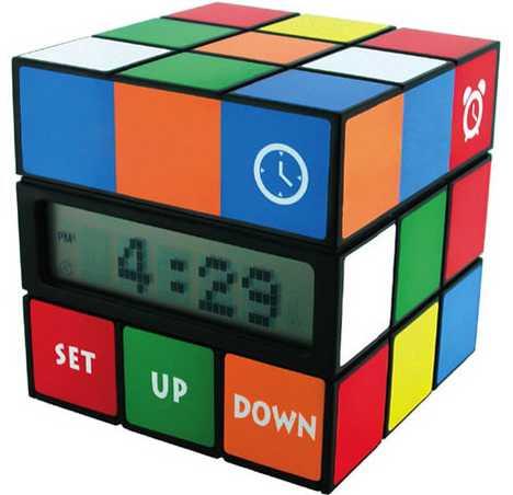Rubik's Cube Alarm Clock - Cube Clock Has Thermometer