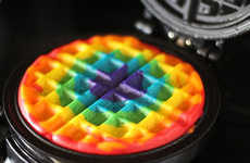Multi-Colored Homemade Waffles - These DIY Rainbow Waffles are Part of a Cheerful Breakfast
