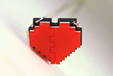 Pixel Heart Friendship Necklace