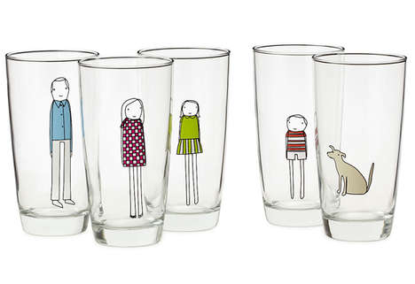 sticker family glassware